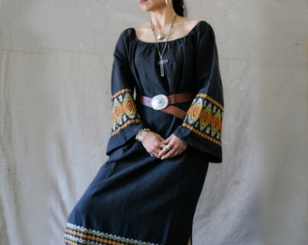 TIERRA Y FUEGO Stunning Vintage Guatemalan Hand Woven Maxi Dress/Off The Shoulder/Handmade