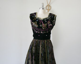 Rare 40's 50's Mexican China Poblana Full Circle Skirt and Blouse Set/Hand Painted/Sequined/Tourist