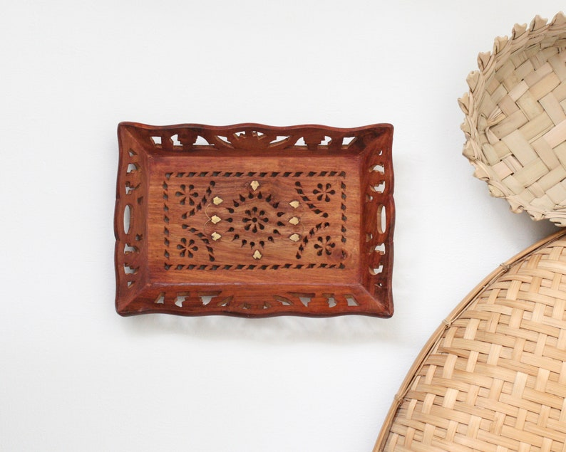 Vintage Boho Carved 10 Wood Tray with image 0