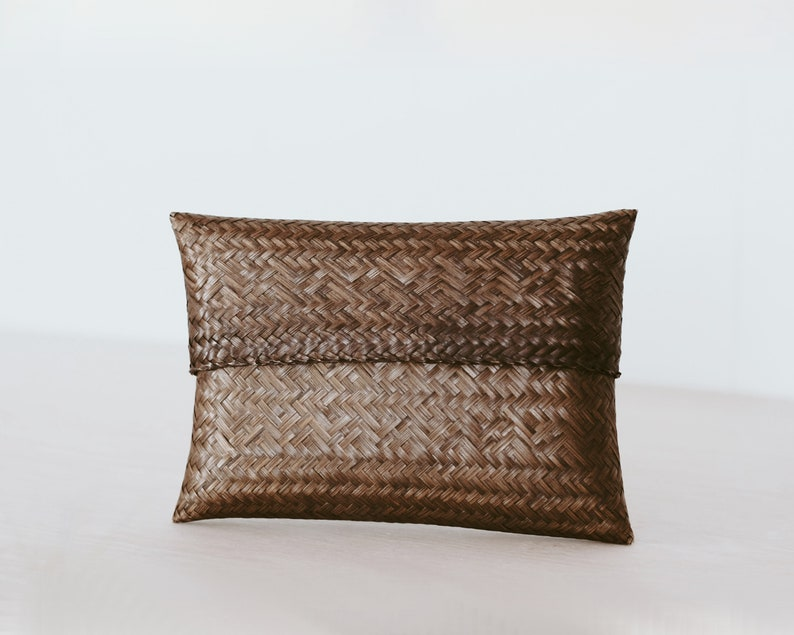 Vintage Boho Woven Straw Clutch with Sliding Lid/Bag/Pillow image 0