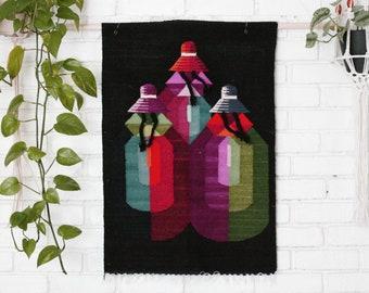 Vintage Hand Woven Peruvian Textile Wall Hanging/Wool textile art/Peru/Tapestry/Weaving/Fiber Art