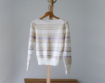 90's Cream Novelty Knitted Boat Neck Sweater/Size S/Puff Sleeve