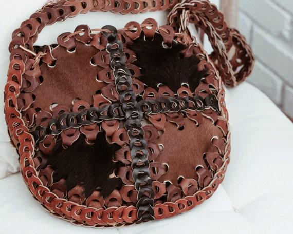 Vintage Cowhide Patchwork Leather Shoulder Bag/Boh