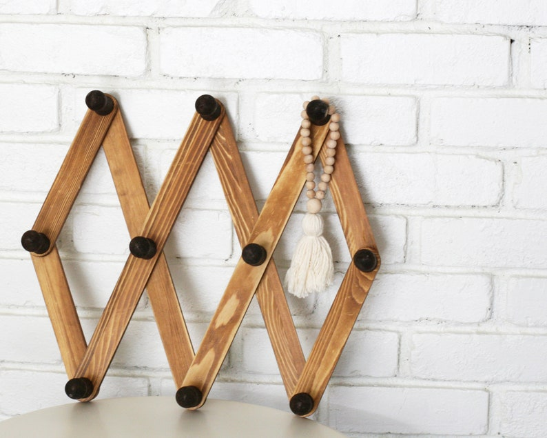 Vintage Accordion Wood Peg Rack/Mug Holder/Hat Rack/Boho image 0