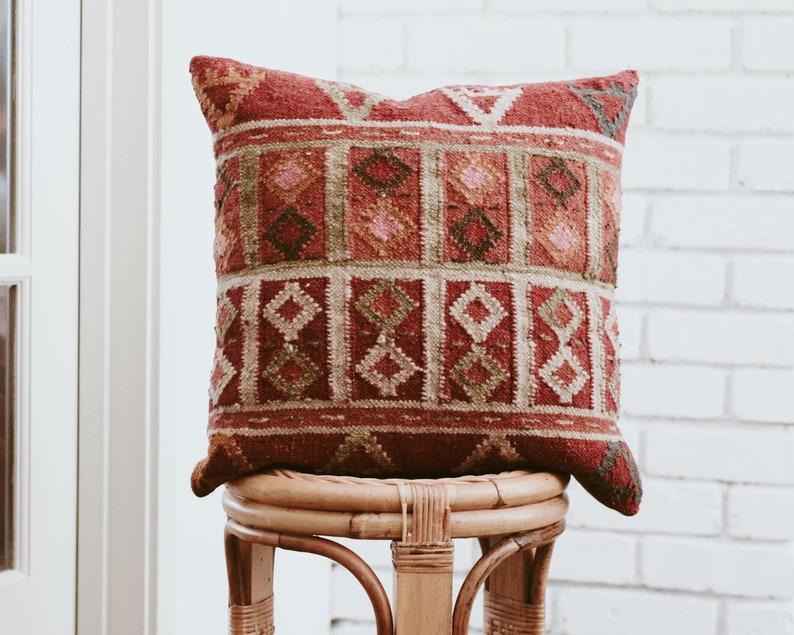 Vintage Kilim Pillow Cover 18x18/Boho/Eclectic image 0