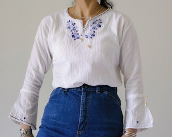 Vintage Ecuadorian White and Blue Embroidered Gauze Blouse/Bell Sleeves/Handmade/Size 38