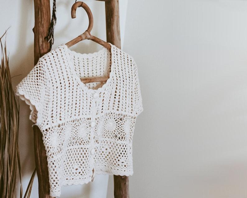 Vintage Cream Crochet Bolero Sweater/Crop image 0