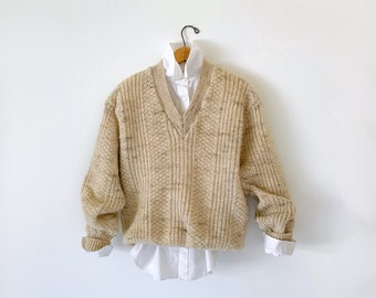 Vintage Pendleton Beige Wool V Neck Sweater/Size L/Made in the USA/Unisex