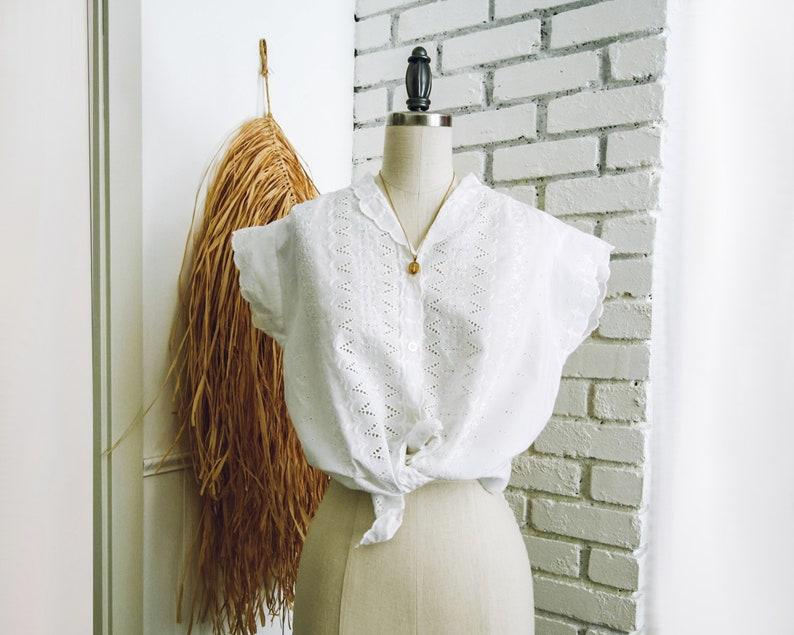 Vintage White Eyelet Embroidered Cotton Blend Top/Short Sleeve image 0