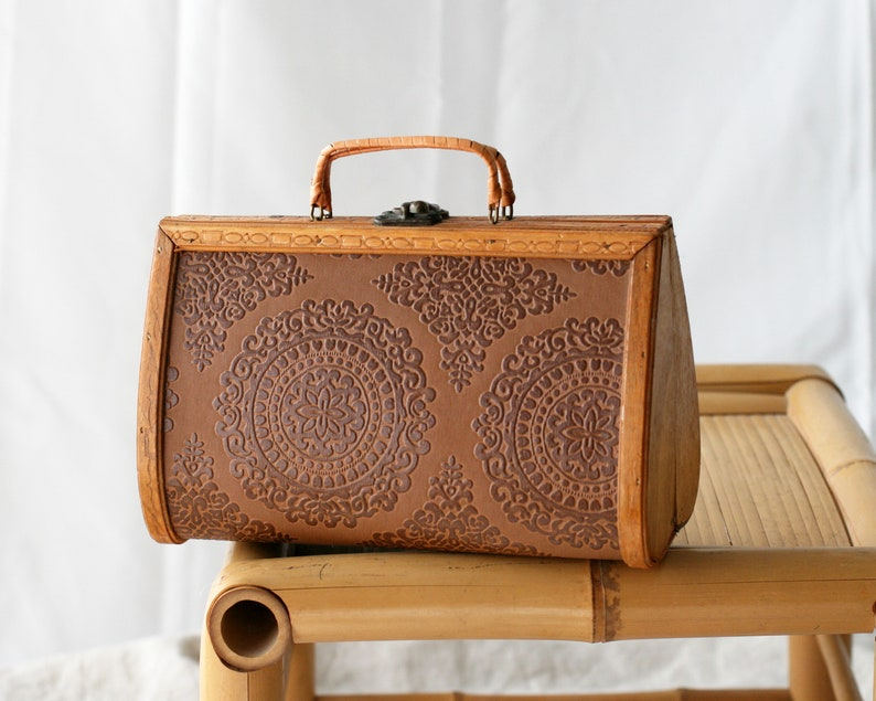 Vintage Wood Purse with Embossed Detail/Bag/Pillow Purse image 0