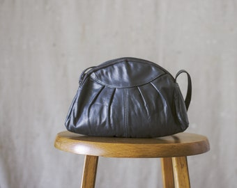 80's Slate Gray Leather Purse/Crossbody/Shoulder Bag