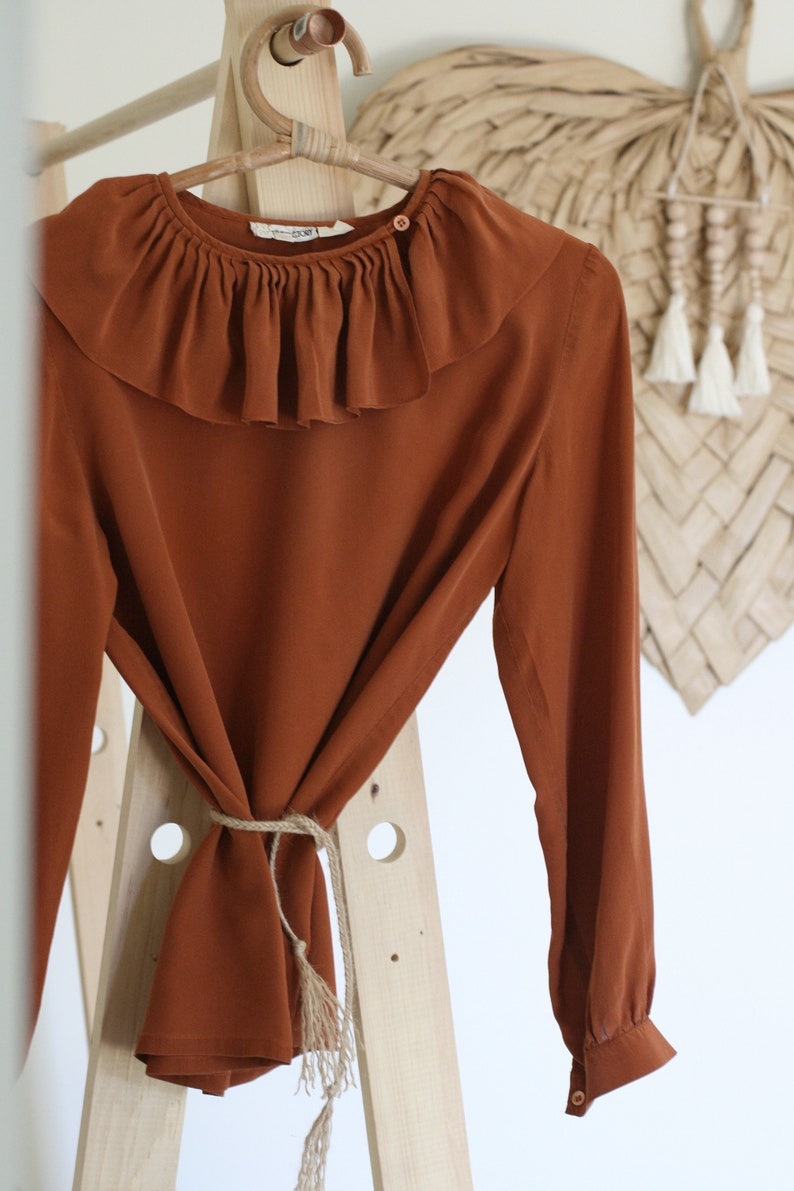 Vintage Rust Silk Blouse with Ruffle Collar/Women's image 0