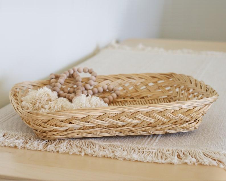 Vintage Boho Woven Rattan Basket Tray/Rectangular Wicker image 0