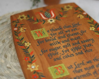 Vintage Watkins Kitchen Prayer Wood Board/Wall Hanging/Painted Cutting board/Wall Hanging/Folkart