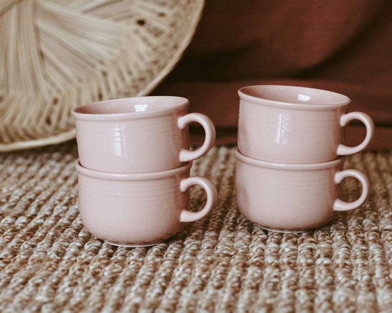 Vintage Set of 4 Blush Stoneware Coffee Mugs/Montgomery image 0