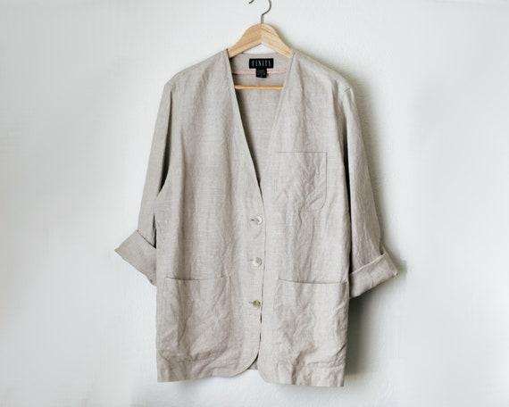 Vintage Oatmeal Beige Linen Blazer Jacket/Ovesized