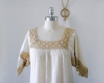 Vintage Cream Mexican Cotton Gauze and Crochet Dress/Handkerchief Sleeves