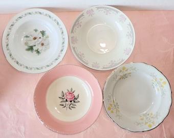 Vintage Mismatched Four Rimmed Soup Salad Bowls Floral Gold Pink Rose Fancy Noritake Walbrxych Japan Poland