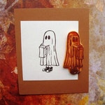 ghost with sneakers hand carved rubber stamp