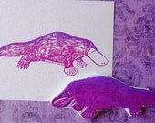 platypus hand carved rubber stamp