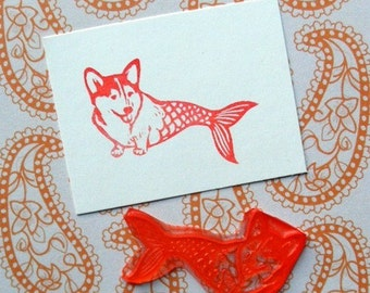Corgi Fish clear polymer rubber stamp