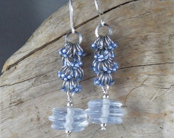 Handmade Glass Lampwork Swirl beads and beaded chainmaille earrings - Ice Blue