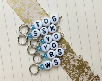 Knitter's Helper: ssk, yo, tog, ws, rs stitch markers knitting stitch markers basic stitchmarkers blue purple red green newbie knitter gifts