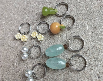 Cottage Stitch Markers Set  Knitting Stitch Markers fruit & floral knitter gifts stitchmarkers knitting notions charms pearls pears oranges
