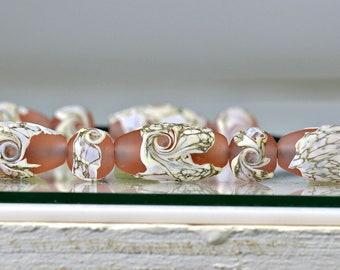 SRA Lampwork Earrings,Birthday Gift Earrings Peach Bellini 925 SS Bali Silvered SRA Lampwork Earrings Earrings Peach Earrings