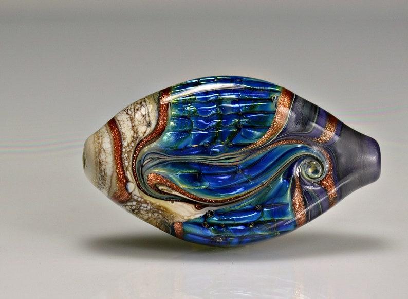 Purple Blue Ivory Lampwork Focal Bead crafts handmade glass pendant bead artisan lampwork 60 x 37 mm beads for jewelry