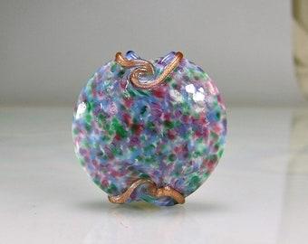 Watercolor Blue Pink Green Lampwork Focal Bead SRA Glass Beads