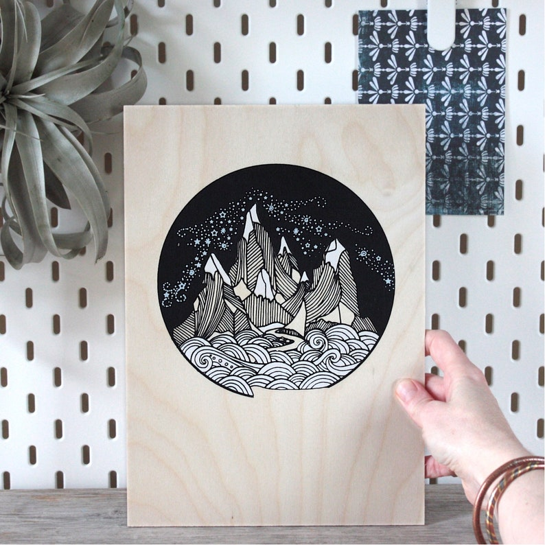 The mountains are calling A4 screen print on plywood image 0