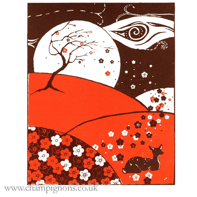 A little print of a sleeping deer in spring with added plum image 0