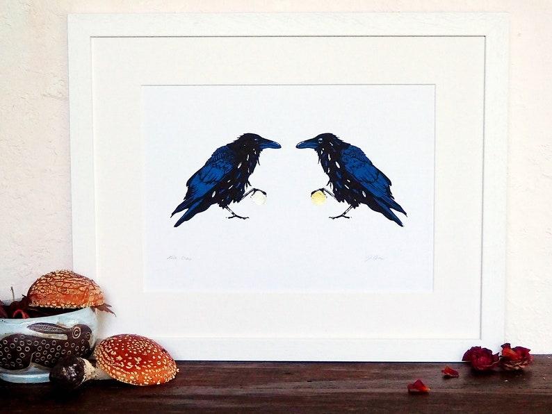 Hunin and Munin twa craw Raven Crow messenger screenprint art image 0