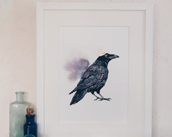 Raven king Original hand coloured Screenprint.