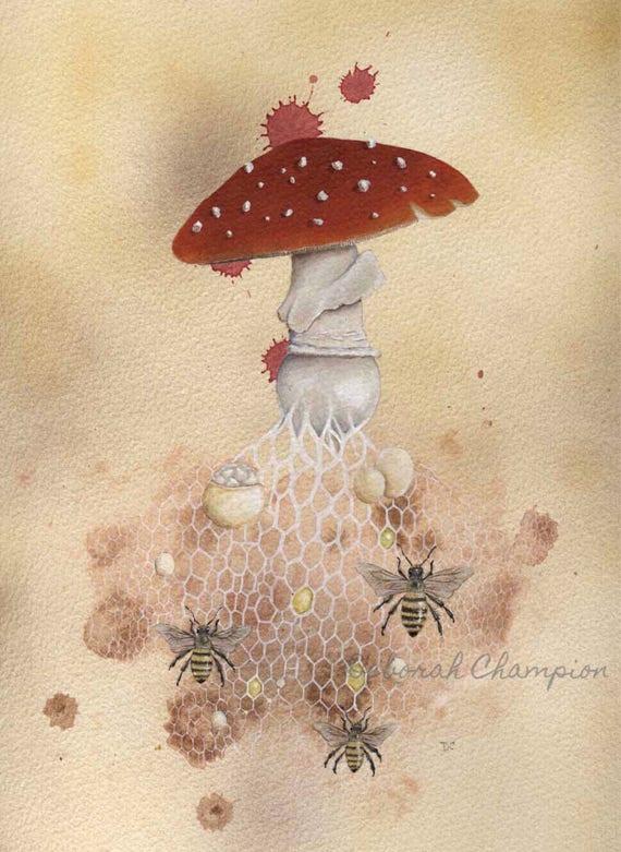 The Bee Algaric  Fly Algaric archival art print  Fairytale toadstool  mushroom painting