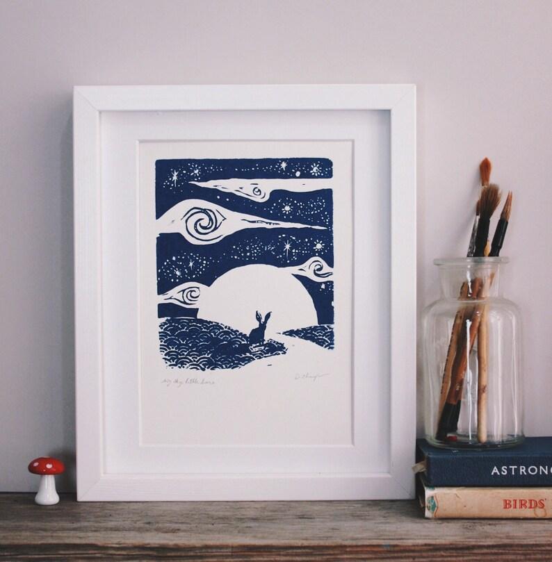 Little hare big sky. Original silkscreen print. image 0