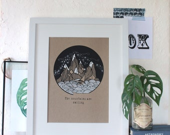 The mountains are calling A4 screenprint