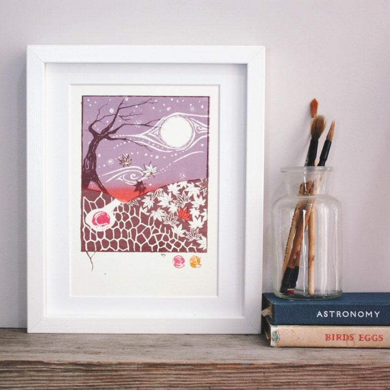 Original art screenprint underground maple hare in the autumn image 0