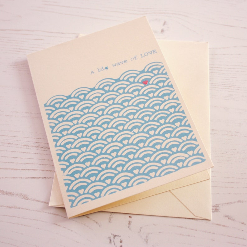 A big wave of LOVE. Hand printed greeting card. image 0
