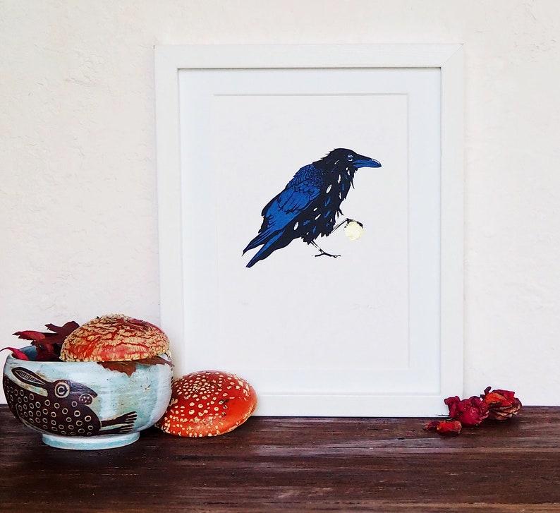 Munin Raven Crow messenger screenprint art print A5 image 0