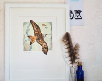 The Red Kite one of a kind linocut print with monoprint background