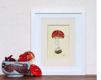Fly Algaric Amanita muscaria Toadstool Ink Small painting Original art mushroom