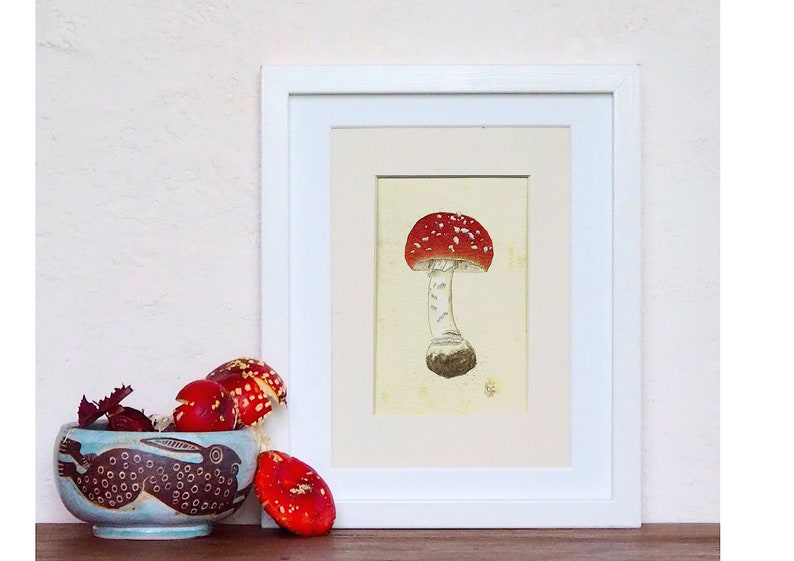 Fly Algaric Amanita muscaria Toadstool Ink Small painting image 0