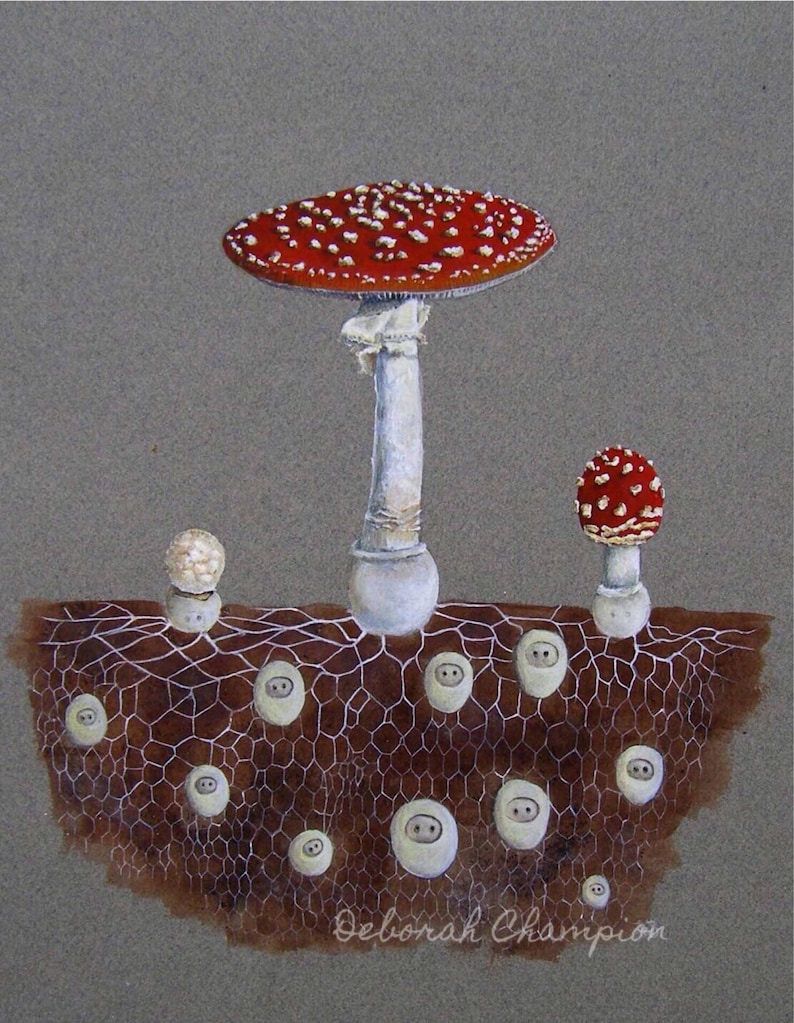 Mushroom folk. Fly Algaric archival art print. Fairytale image 0