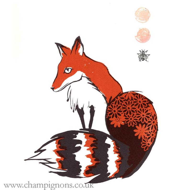 Orange Fox with daisies. Original screenprint image 0