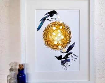 The Detectorists Two for joy hand coloured gilt magpie print
