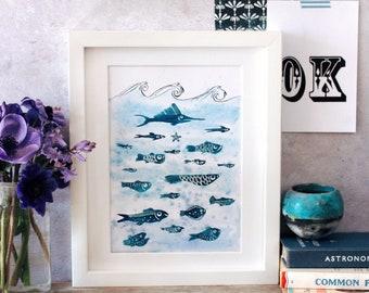 Nineteen fish A5 original watercolour painting