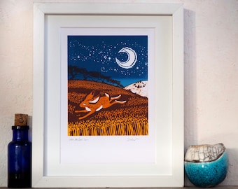 Where hares run. Original hand pulled screen print.