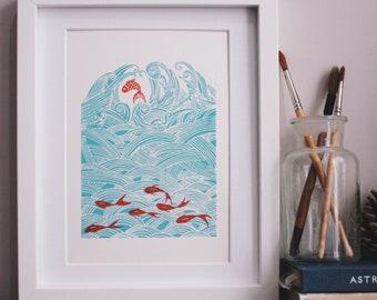 seven fish for luck- light blue version . Original hand pulled screen print.
